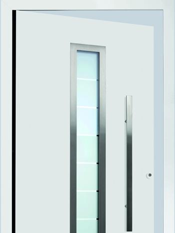 Porte d'entrée aluminium Hörmann - ThermoSafe - ThermoCarbon avec panneau de porte avec cadre ouvrant caché